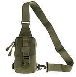 Тактическая EDC сумка однолямочная. Цвета: олива, койот, чёрный, фото 7