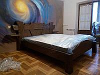 Кровать двухспальная деревянная с прикроватными полками