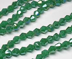 Бусины хрустальные (Биконус)  4х4мм (пачка- 95-105 шт), цвет - зеленый непрозрачный с АБ