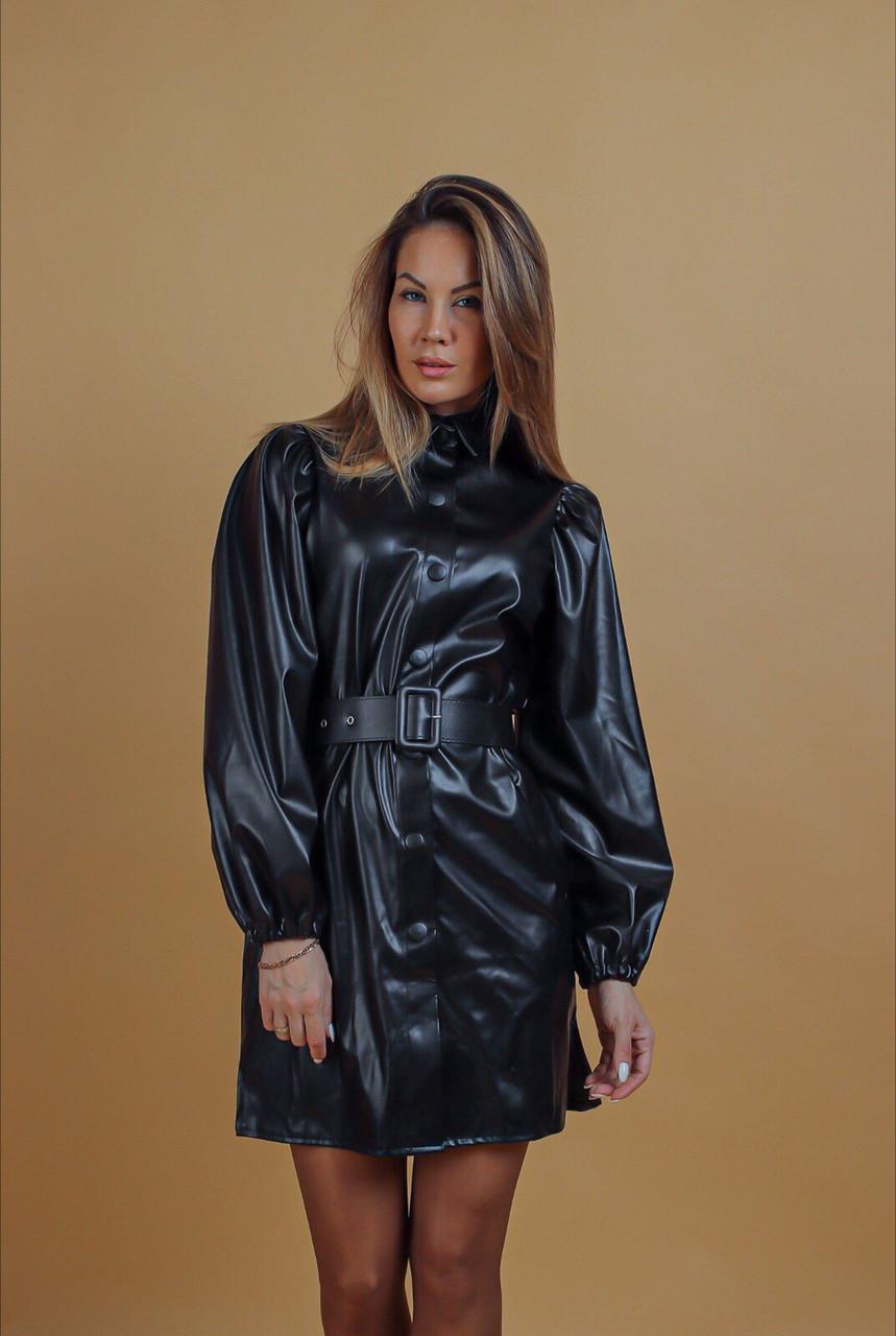 Платье женское из эко кожи чёрное, бордо, 42-44, 46-48