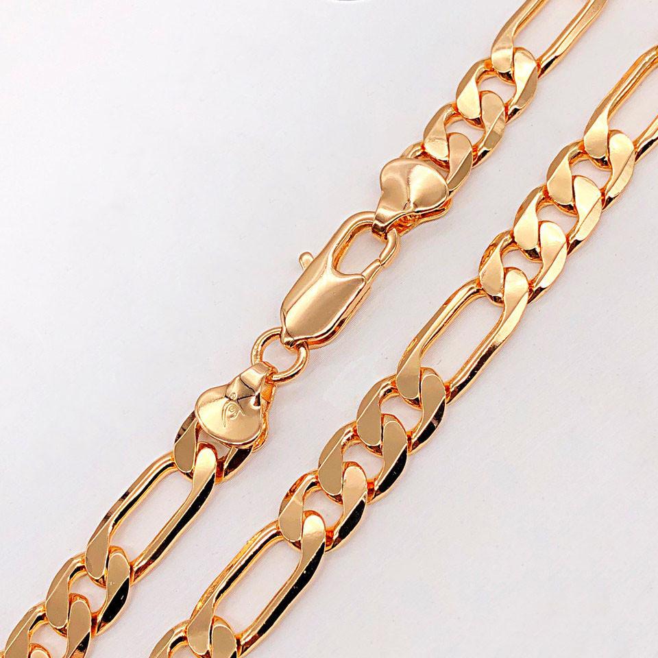 Цепочка Xuping Jewelry 60 см х 9 мм Фигаро медицинское золото позолота 18К А/В 3-0061