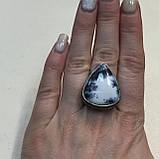 Дендро опал кольцо капля дендритовый опал размер 18,5-19 кольцо с дендро-опалом в серебре Индия, фото 2