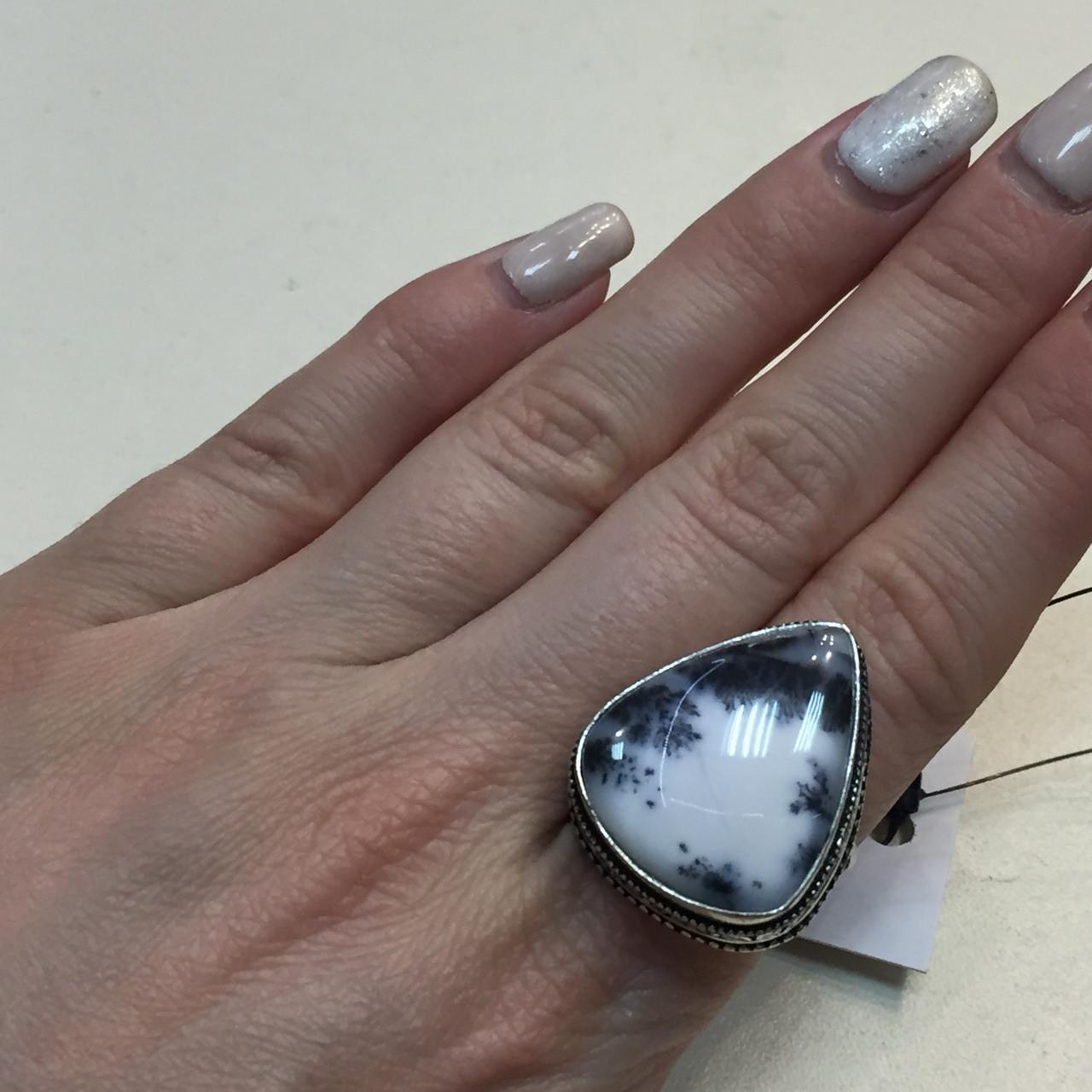 Дендро опал кольцо капля дендритовый опал размер 18,5-19 кольцо с дендро-опалом в серебре Индия