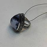 Дендро опал кольцо капля дендритовый опал размер 18,5-19 кольцо с дендро-опалом в серебре Индия, фото 4