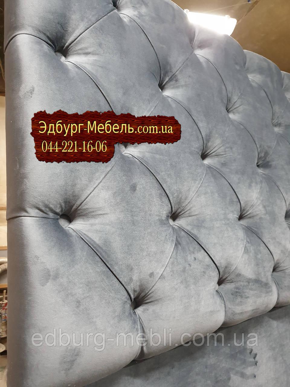 Мягкие спинки кровати на заказ с пуговицами из велюра