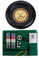 Набор для настольных игр 5в1, покер, блэкджек, рулетка, кости, покер в кости, фото 2