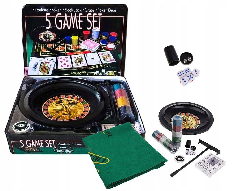 Набор для настольных игр 5в1, покер, блэкджек, рулетка, кости, покер в кости