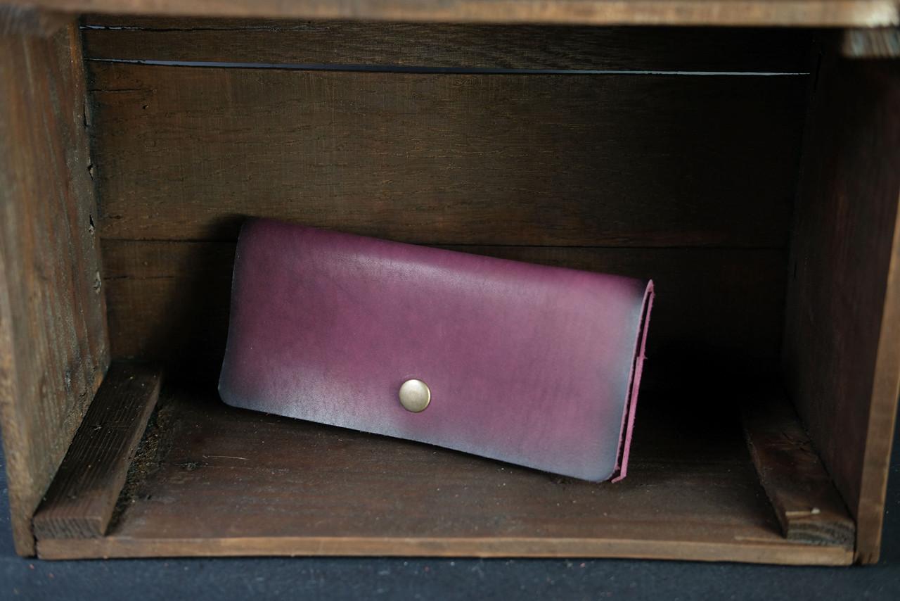 Женский кожаный кошелек Батерфляй Кожа Итальянский краст цвет Бордо