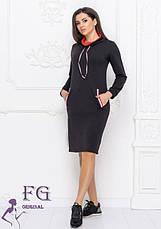 Черное теплое спортивное платье худи по колено с воротником под горлр и карманами спереди, фото 2