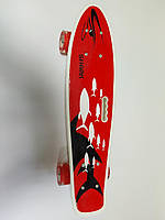 Скейт Пенни борд 70822 Best Board, дека с ручкой, колеса светящиеся PU d=6см