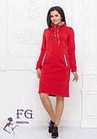 Спортивное красное теплое платье-худи с горловиной и карманами большие размеры красное