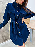 Женское джинсовое платье-рубашка с поясом, фото 2