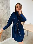 Женское джинсовое платье-рубашка с поясом, фото 3