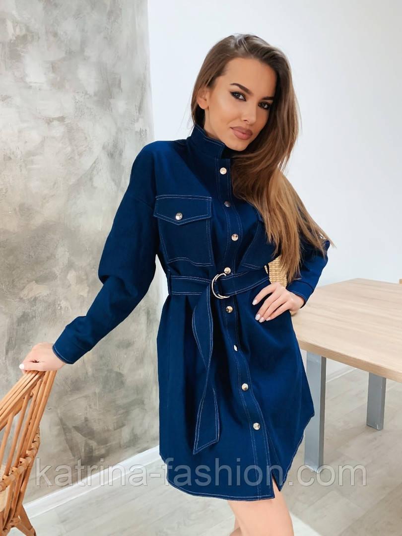 Женское джинсовое платье-рубашка с поясом