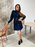 Женское джинсовое платье-рубашка с поясом, фото 4