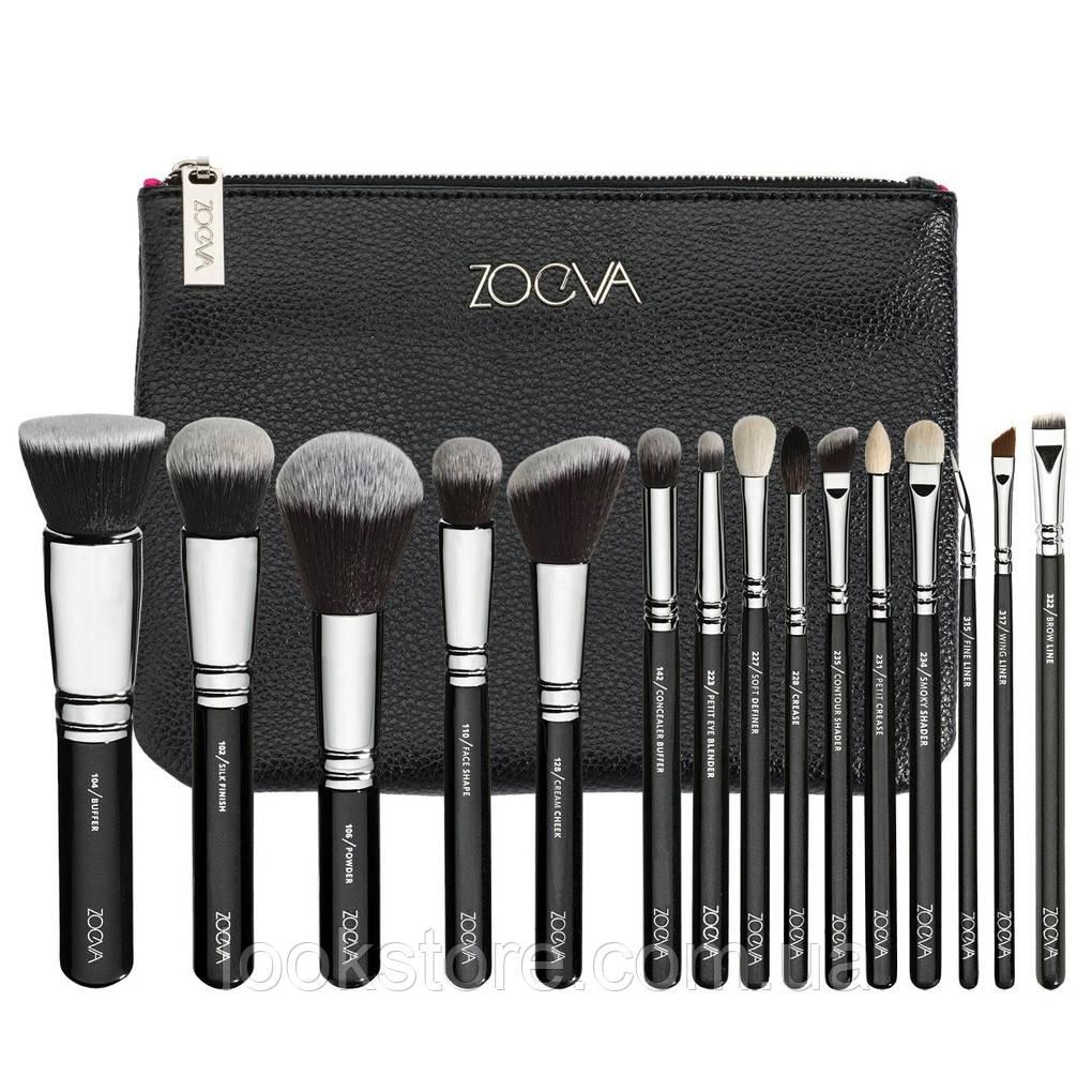 Набор кистей ZOEVA Luxe Complete Set черный с черным ворсом 15 шт
