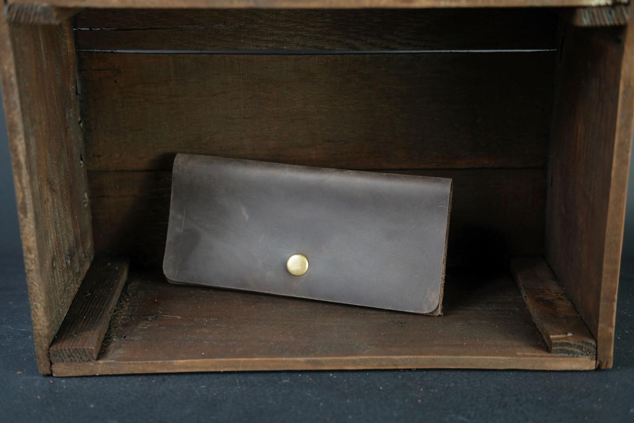 Женский кожаный кошелек Батерфляй Винтажная кожа цвет Шоколад