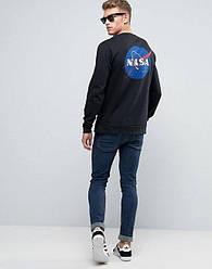 Свитшот чёрный NASA Back logo • кофта наса