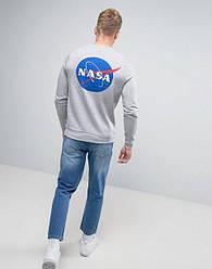 Свитшот серый NASA back logo • кофта наса