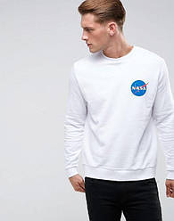 Свитшот белый NASA back logo • кофта наса