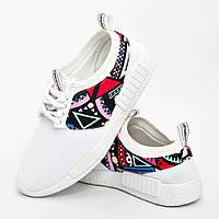 Кросівки жіночі білі абстрактний прин опт