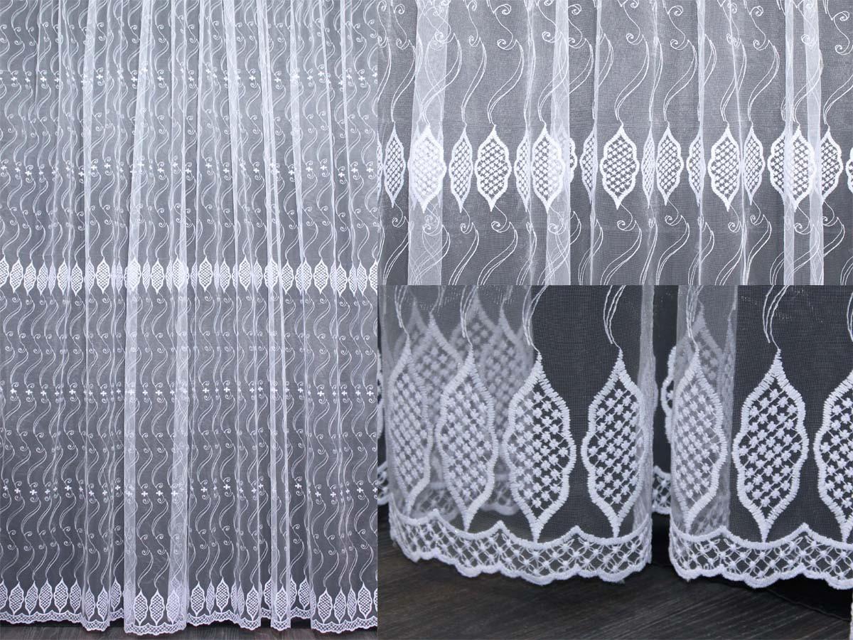 Тюль фатин с вышивкой, цвет белый . Код 288т ТУ (1,6х2,8)