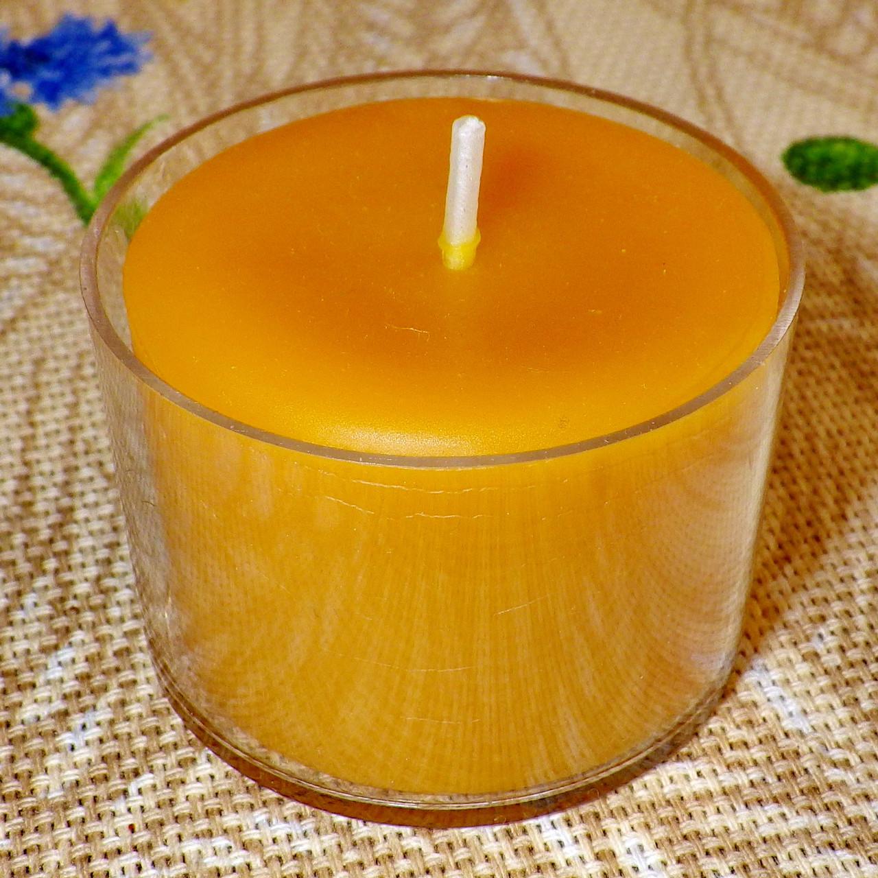 Круглая прозрачная восковая чайная свеча 30г для аромаламп и лампадок; натуральный пчелиный воск