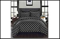 Комплект постельного белья, хлопок 160x200, пододеяльник, простынь, наволочки черный