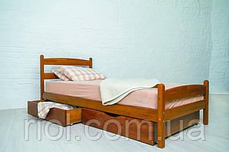 Односпальне ліжко з бука Ліка з ящиками ТМ Олімп