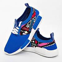 Кросівки жіночі блакитні абстрактний прин опт