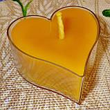 Восковая чайная свеча Валентинка 36г в пластиковом прозрачном контейнере, фото 2