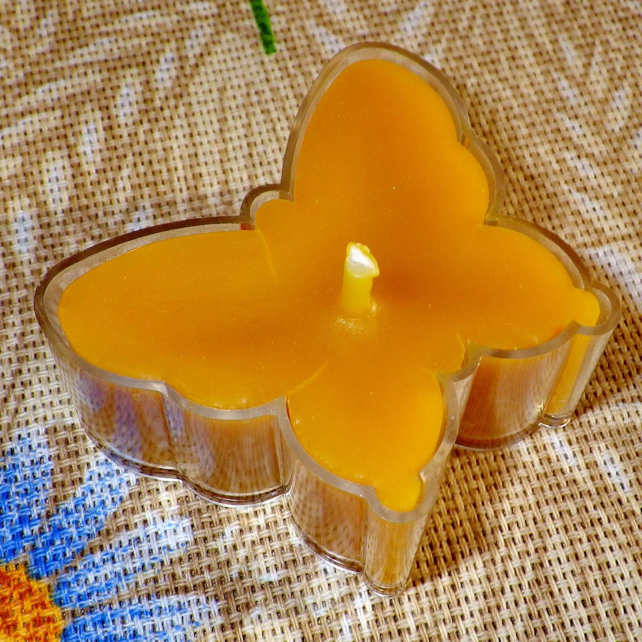Восковая чайная свеча Бабочка (мотылек) в пластиковом прозрачном контейнере; натурального пчелиный воск