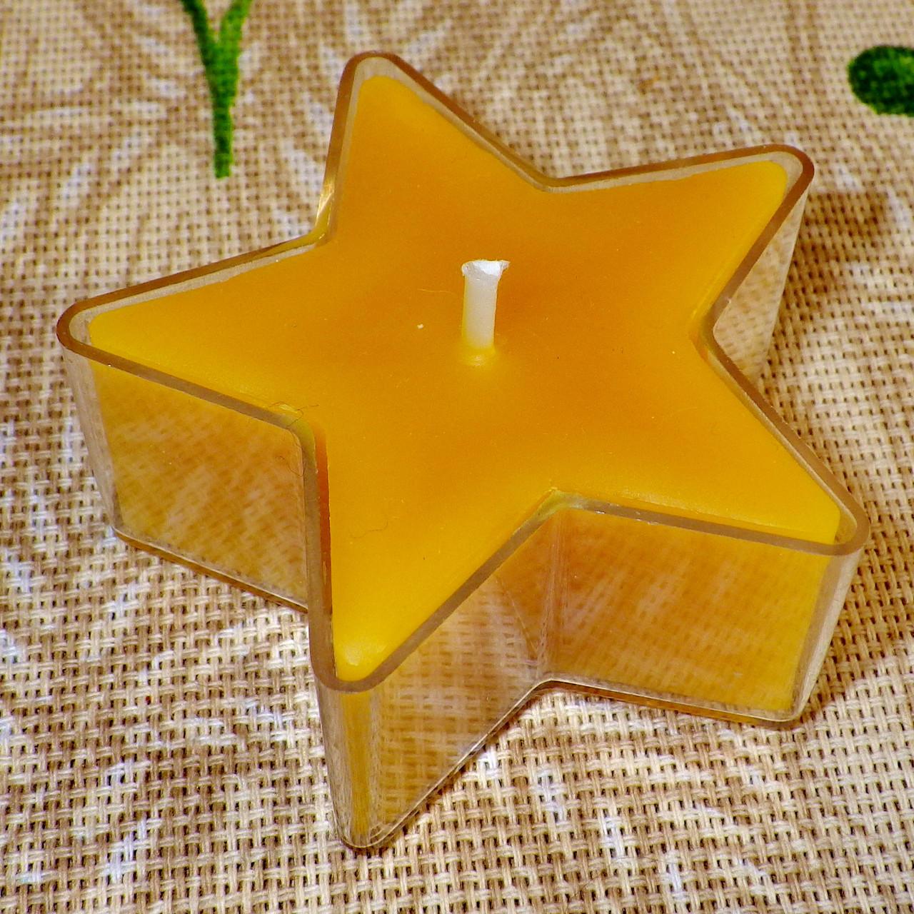 Восковая чайная свеча Звезда 26г в пластиковом прозрачном контейнере; натурального пчелиный воск