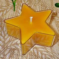 Восковая чайная свеча Звезда 26г в пластиковом прозрачном контейнере; натуральный пчелиный воск