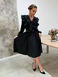Женское платье с рюшами бежевое и черное, фото 2