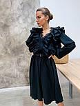 Женское платье с рюшами бежевое и черное, фото 4