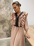 Женское платье с рюшами бежевое и черное, фото 5