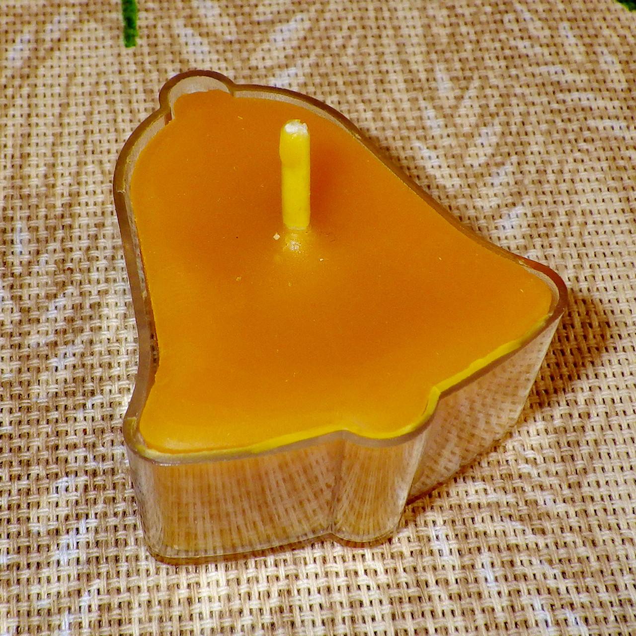 Воскова чайна свічка Дзвіночок в пластиковому прозорому контейнері; натуральний бджолиний віск