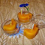 Восковая чайная свеча Птичка в пластиковом прозрачном контейнере; натуральный пчелиный воск, фото 4