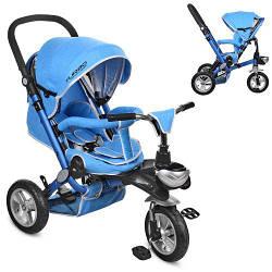 Трехколесный велосипед с регулируемой спинкой на надувных колесах M AL3645A-12 голубой