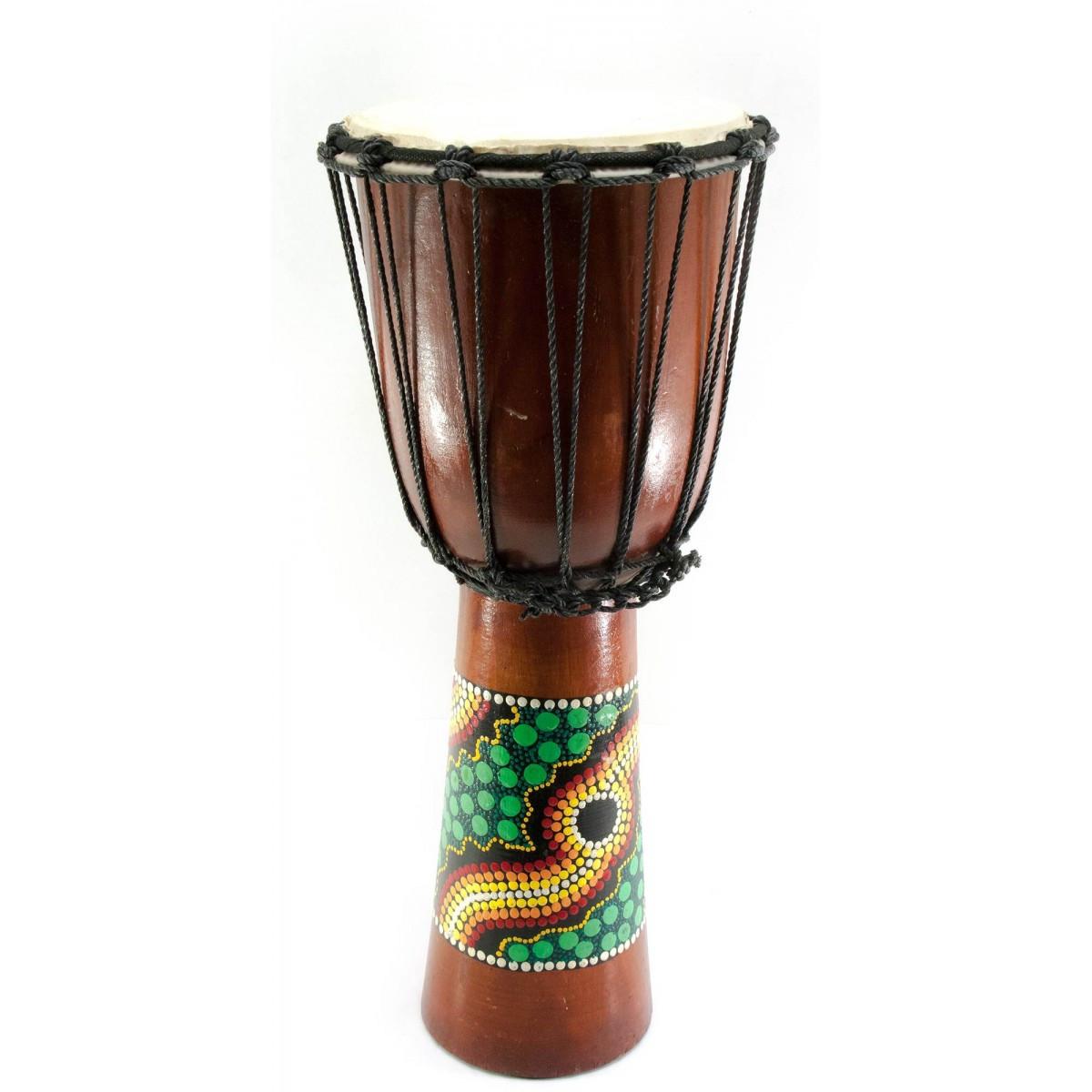 Барабан джембе расписной дерево с кожей черный 50х22х22 см 30189