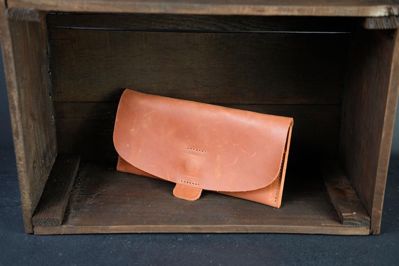 Женский кожаный кошелек Батерфляй 2 Винтажная кожа цвет Коньяк