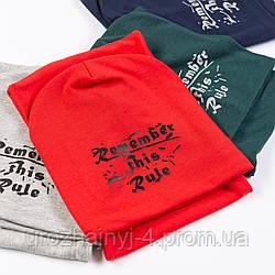 Трикотажный комплект шапка и хомут подкладка х/б р52-54 5шт упаковка