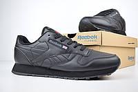 Кроссовки Reebok Classic мужские, черные, в стиле Рибок Классик, кожа, код OD-1901