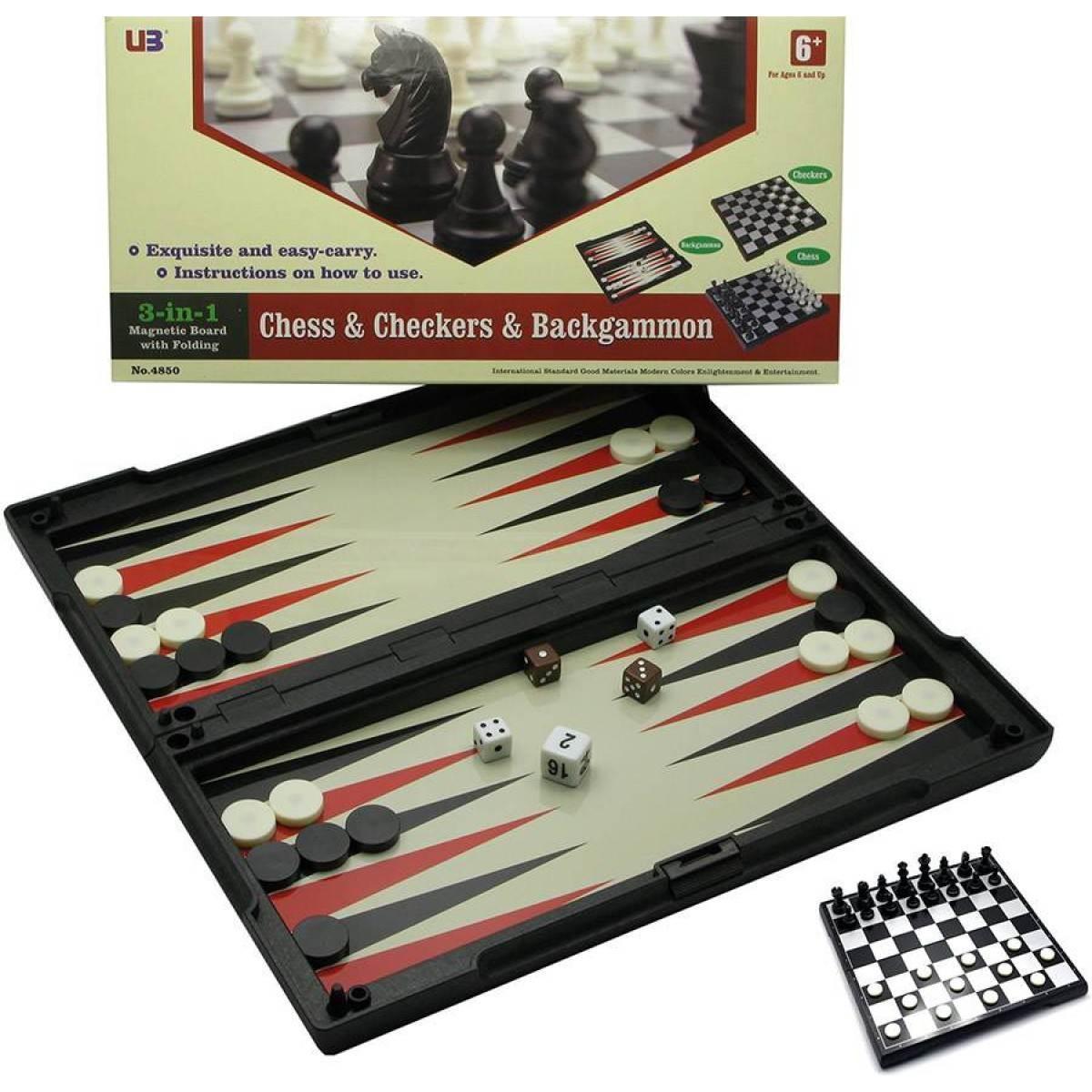 Игровой набор магнитный 3 в1 Шахматы,шашки,нарды 32х32х2 см 19312