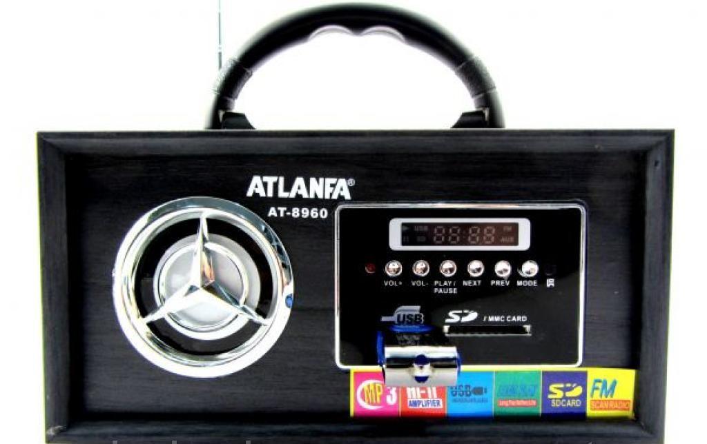 Портативная акустическая система Радио-колонка At-8960 LED дисплей MP3/microSD/SD/USB CardReader Радио