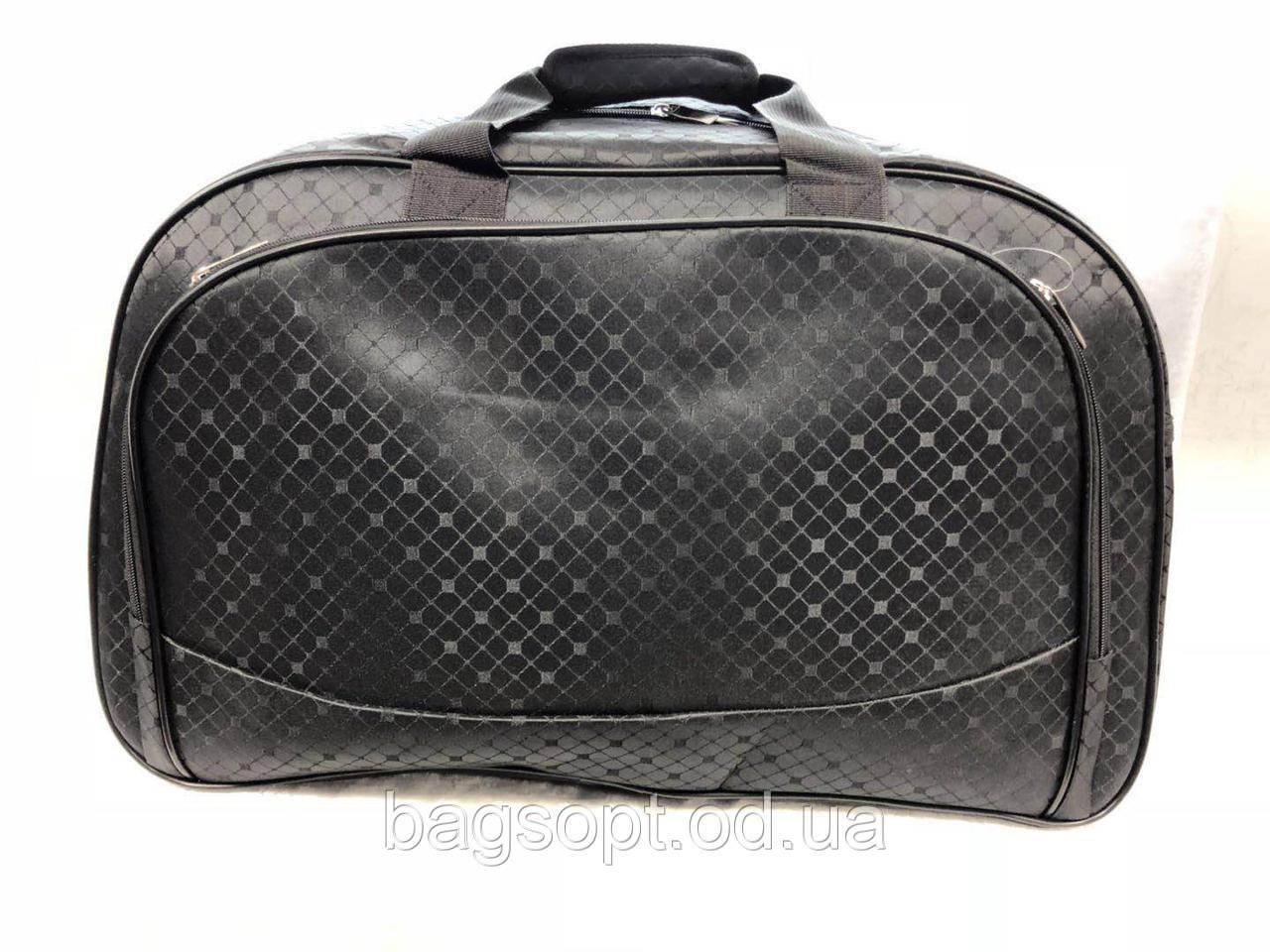 Черная дорожная большая сумка-саквояж текстильная