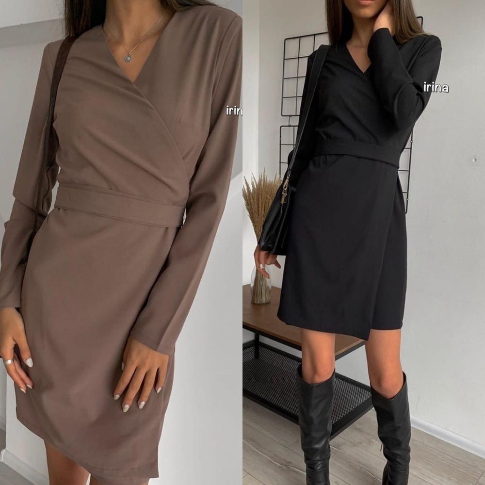 Платье женское, повседневное, нарядное, футлярное, с запахом и длинным рукавом, короткое, офисное, модное