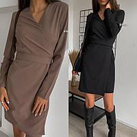 Платье женское, повседневное, нарядное, футлярное, с запахом и длинным рукавом, короткое, офисное, модное, фото 1