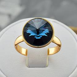 Кольцо Xuping с кристаллами Swarovski 14205 размер регулируемый цвет джинсовый синий позолота 18К